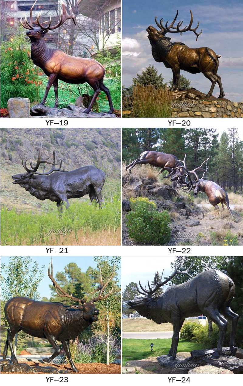outdoor bronze elk statue for sale
